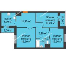 3 комнатная квартира 76,3 м² в ЖК Левенцовка парк, дом Корпус 8-7 - планировка