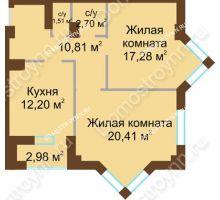 2 комнатная квартира 65,7 м² - ЖК Грани