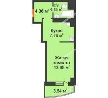 Студия 33,46 м² в ЖК Нива, дом №37 - планировка