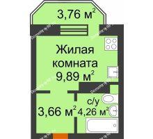 Студия 18,91 м² в ЖК Светлоград, дом Литер 16 - планировка