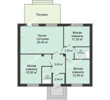 3 комнатная квартира 80 м² в КП Green Park (Грин Парк), дом коттедж 80.0 м² - планировка