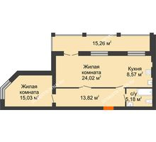 2 комнатная квартира 74,26 м² в ЖК Свобода, дом 2 очередь