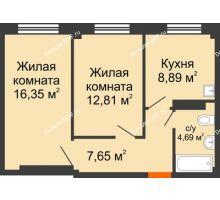 2 комнатная квартира 50,39 м², Жилой дом в 7 мкрн.г.Сосновоборск - планировка
