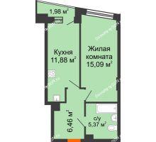 1 комнатная квартира 39,79 м² в ЖК Рубин, дом Литер 3 - планировка