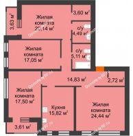 4 комнатная квартира 129,33 м² в ЖК Бунин, дом 2 этап секция 8-10 - планировка