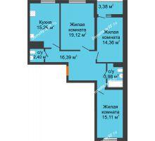 3 комнатная квартира 89,74 м², ЖК Дом у Самолета - планировка