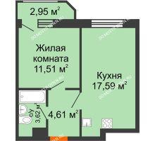 1 комнатная квартира 40,28 м² в ЖК Город времени, дом № 18