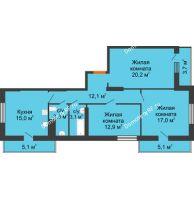 3 комнатная квартира 97,8 м², ЖК Космолет - планировка