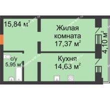1 комнатная квартира 57,89 м², ЖК На Владимирской - планировка