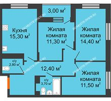 3 комнатная квартира 73 м² в ЖК Цветы 2, дом № 4 - планировка