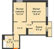 2 комнатная квартира 61,1 м² в ЖК Курчатова, дом № 10.1 - планировка