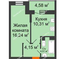 1 комнатная квартира 37,5 м² в ЖК Россинский парк, дом Литер 1 - планировка