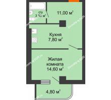 1 комнатная квартира 35,88 м², ЖК Уютный дом на Мечникова - планировка