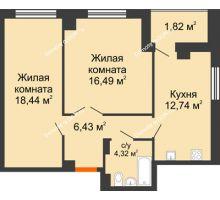 2 комнатная квартира 60,53 м² в ЖК Университетский 137, дом Секция С1 - планировка