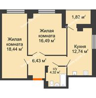 2 комнатная квартира 62,35 м² в ЖК Университетский 137, дом Секция С1 - планировка