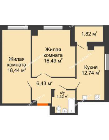 2 комнатная квартира 62,35 м² в ЖК Университетский 137, дом Секция С1