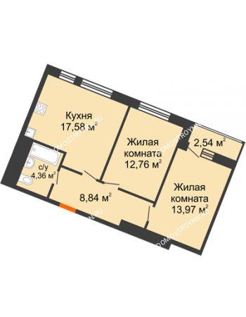 2 комнатная квартира 60,05 м² в ЖК Книги, дом № 2