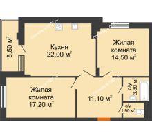 2 комнатная квартира 70,3 м² в ЖК Вересаево, дом Литер 5/1 - планировка