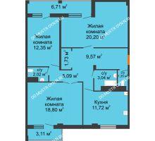 3 комнатная квартира 90,41 м², Жилой дом: г. Арзамас, ул. Матросова, д. 13 - планировка
