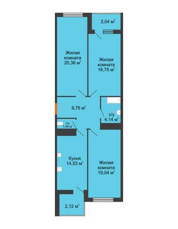 3 комнатная квартира 90,21 м² в ЖК Фамилия, дом Литер 1