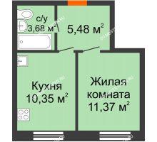 1 комнатная квартира 30,87 м², ЖК Советский - планировка
