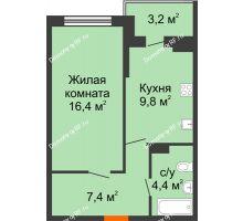 1 комнатная квартира 39,6 м² в ЖК Дружный 2, дом Литер 3.3 - планировка