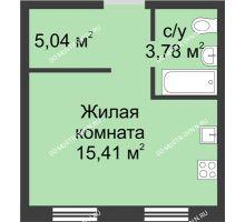 Студия 24,51 м² в ЖК Тридесятое, дом № 19 - планировка