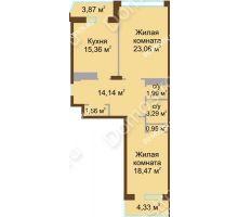 2 комнатная квартира 83,12 м² в ЖК Дворянский, дом № 1 - планировка