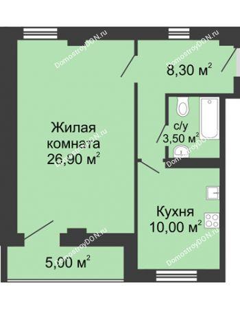 1 комнатная квартира 51,2 м² - ЖК Дом на Береговой