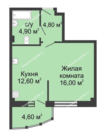 1 комнатная квартира 42,9 м² в ЖК Мега, дом № 2