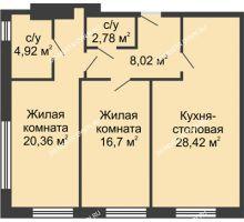 2 комнатная квартира 81,3 м² в ЖК TRINITY (Тринити), дом № 1 - планировка