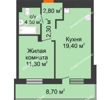 1 комнатная квартира 44,65 м², ЖК Корица - планировка