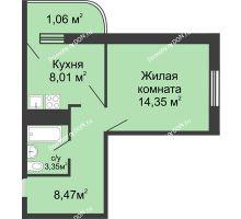 1 комнатная квартира 35,24 м² - ЖК Центральный-2