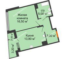 1 комнатная квартира 46,5 м² в ЖК Маршал Град, дом № 3 - планировка