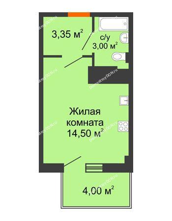 Студия 21,75 м² в ЖК Грин Парк, дом Литер 2