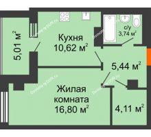 1 комнатная квартира 45,72 м², ЖК Площадь Ленина - планировка
