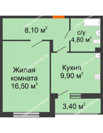 1 комнатная квартира 41 м² в ЖК Цветы, дом № 6-2