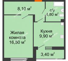 1 комнатная квартира 41 м² в ЖК Цветы, дом № 6-2 - планировка