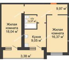 2 комнатная квартира 63,55 м² в ЖК Новая Самара, дом № 44 - планировка