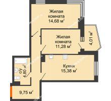 2 комнатная квартира 57,89 м² в ЖК Сердце Ростова 2, дом Литер 3 - планировка
