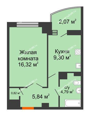 1 комнатная квартира 41,19 м² в ЖК Университетский 137, дом Секция С1