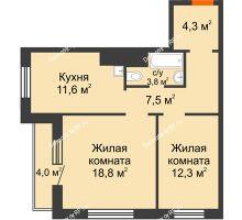 2 комнатная квартира 60,3 м² в ЖК Курчатова, дом № 10.1 - планировка
