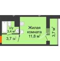 Студия 22,6 м², ЖК Космолет - планировка