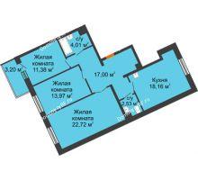 3 комнатная квартира 89,77 м² в ЖК Новый Академгородок, дом № 2 - планировка