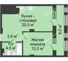 1 комнатная квартира 44,4 м² в ЖК Планетарий, дом № 7 - планировка