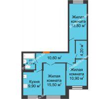 3 комнатная квартира 68,8 м² в ЖК Жюль Верн, дом № 1 корпус 1 - планировка