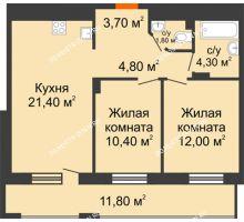 2 комнатная квартира 64,3 м² в ЖК Корица, дом № 1 - планировка