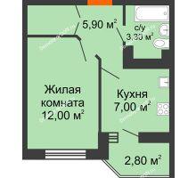 1 комнатная квартира 29,7 м² в ЖК Вересаево, дом Литер 11 - планировка