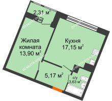 1 комнатная квартира 42,16 м² в ЖК Книги, дом № 2 - планировка