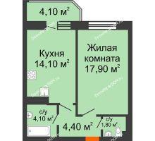 1 комнатная квартира 46,4 м² в ЖК Звездный, дом № 6